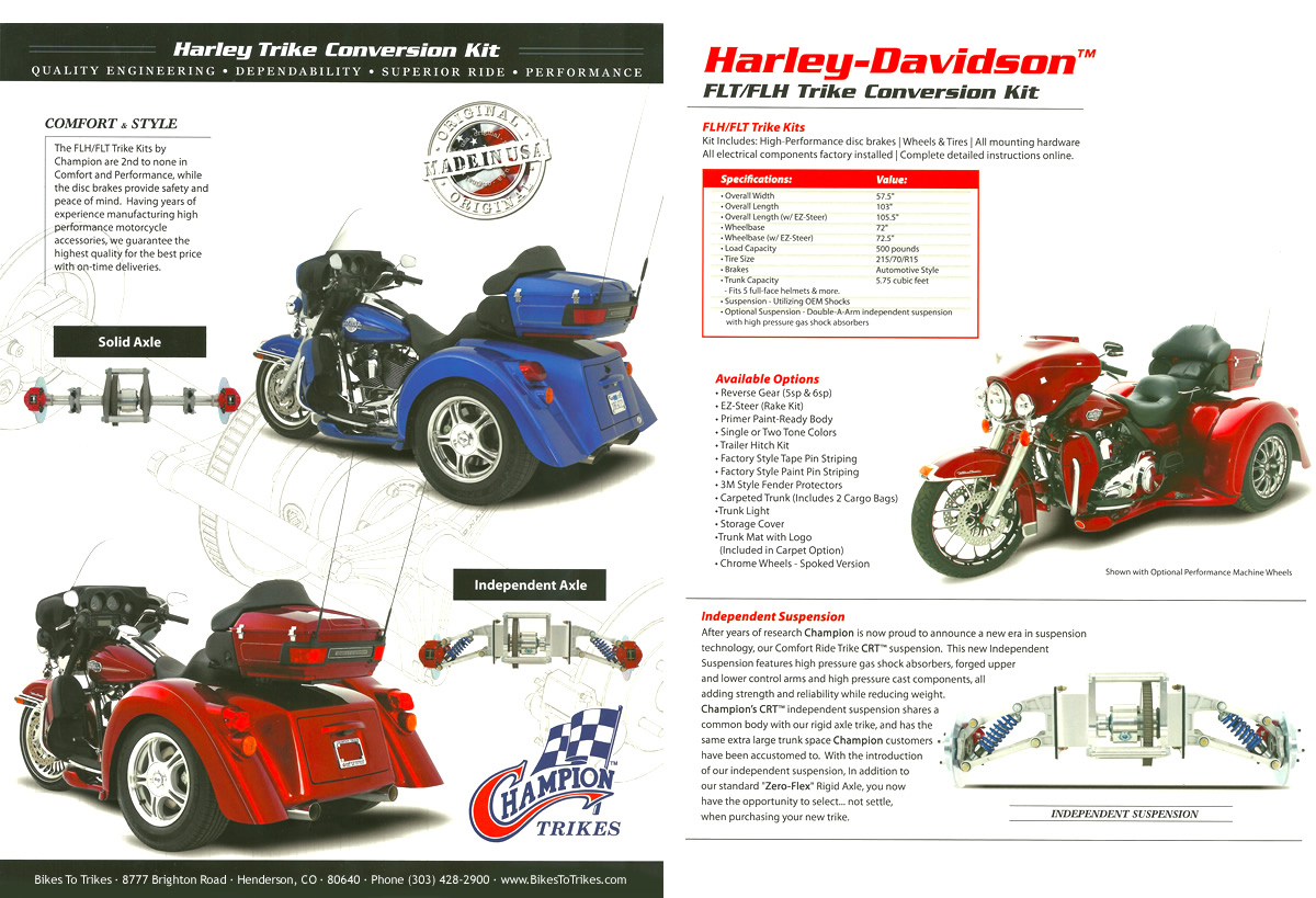Champion Trike conversion for Harley-Davidson Touring models ƒ